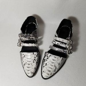 Asos Faux Croc White/Black Buckle Flats - Size 6M